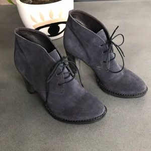Atelier navy suede lace ankle heel boots
